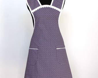 Vintage Style Polka Dot and Circles Cotton Apron with two pockets - Purple and White Apron