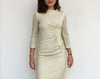 Stunning 50s bombshell gold/champagne knit wiggle dress
