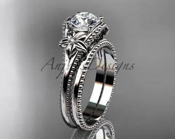Flower wedding set 14k white gold engagement ring ADLR375S