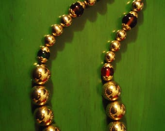 Vintage 1980s Gypsy Gold Beaded Necklace