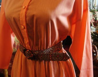 Vintage 1960 Orange Cotton American Shirt Dress