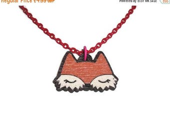 Laser Cut Fox Necklace, Kawaii Woodland Animal , Red Chain, Cute Wood Pendant