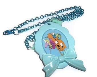 Adventure Time Necklace, Large Cameo, Beaded Kawaii Pastel Mint Green, Jake, Finn, Lady Rainicorn and Princess Bubblgum