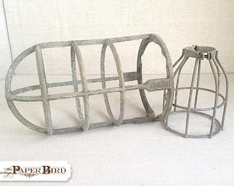 Pair of Vintage Industrial Light Cages | fixer upper decor | galvanized cloche | vintage farmhouse