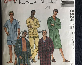 McCalls Mens Sleepwear Robes Nightshirt Pants Shorts Pattern 8524 UC Uncut FF Size xl xxl xxxl 46 48 50 52 54 56
