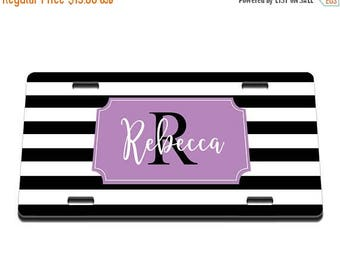 ON SALE NOW Striped Personlaized Printed Personalized License Plate / Gift Idea / Gift for her / New Driver / Car Accessories / Vanity Plate