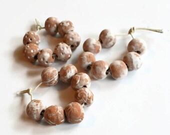 Large hole beads, Handmade Ceramic Beads, 21 African beads, earthy terracotta beads,  Artisan Beads, terracotta beads, clay beads