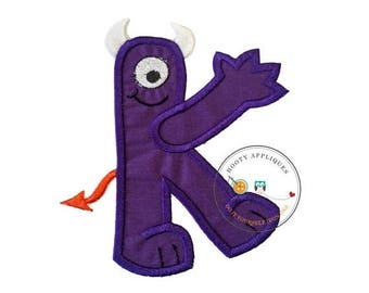ON SALE NOW Monster letter K applique, initial embroidered patch, iron on applique letter for kids, iron on letter embellishment, iron on mo