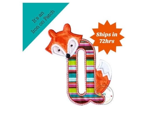 ON SALE NOW Woodland fox letter Q machine embroidered iron on no sew patch, fox embroidered monogram letter q, ready to ship