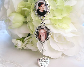 Bridal Bouquet Charm 2 Photo Charms Gift For Bride Double Angel