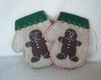 Beige Felt Gingerbread Man Christmas Mitten Ornament/Gift Card Holder