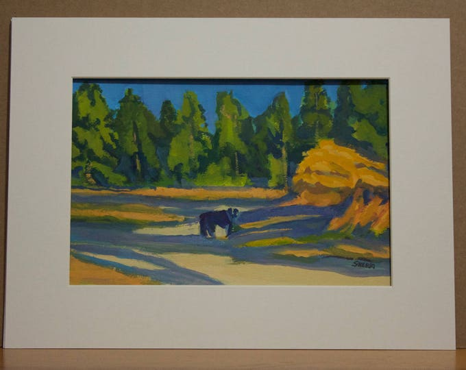 Autumn Landscape with Dog Title He Waits for Me Deshutes River Wickiup Reservoir Fall Colors Sherri McDowell Artist Oregon by heART