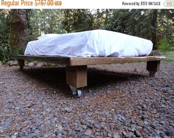 Limited Time Sale 10% OFF Rustic Wood and Steel Platform Bed, Twin size 49x80
