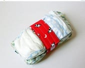 FINAL CLEARANCE Vintage Cow Print Diaper Strap - Red Cow Jumped Over the Moon Vintage Fabric