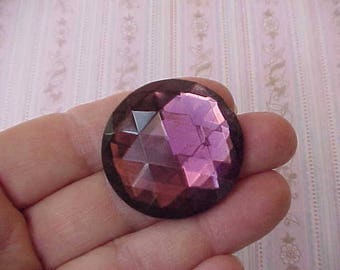 Huge Deep Amethyst Colored Faceted Glass Jewel for Jewelry Project
