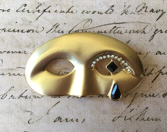 Pretty Little Mask Brooch with Jeweled Tear