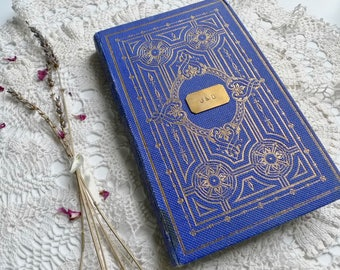 Unique Wedding Guestbook, Vintage Journal, Blank Book, Personalized Book, Engagement Gift Idea, Custom Rebound Book, Lapis Blue and Gold