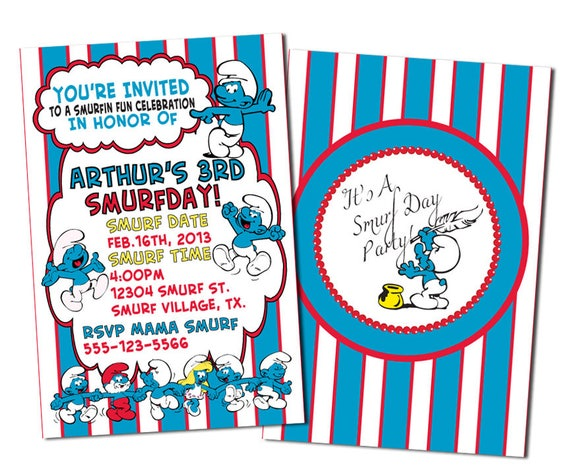 Smurfs Invitations Smurfs Birthday Invitations Invitations