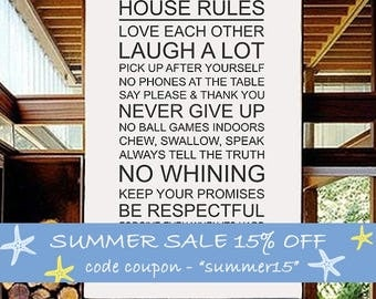 Family Quotes, House Rules Wall Vinyl Decal, Words Vinyl Stickers, Family Vinyl Decals, Typographic Quote Home Decor - ID356