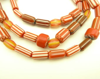 "26"" strand mixed reds tribal Indian made glass chevron trade beads AB-0029"