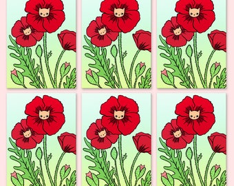 Poppy Kitty Postcards Set of 6