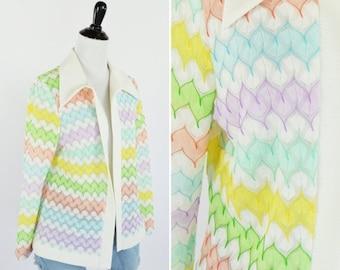 SUMMER SALE Vintage 1970's White Rainbow Chevron Knit Cardigan - vintage 70's flyaway cardigan sweater - ladies size medium