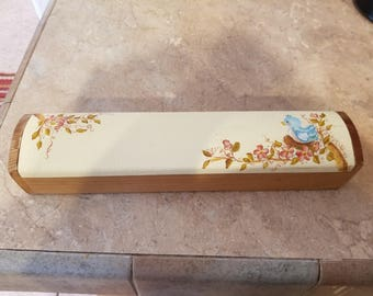 Old Colony Works wood pencil box with hand painted baby bird top storage box for pen, pencil, paint brushes.