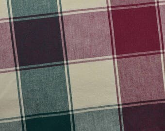 Cotton Plaid Fabric, Heavy Cotton Fabric, Green Burgundy Plaid, Green Plaid - 3 Yards - CFL2420
