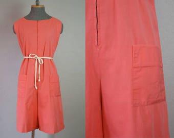 1940's Salmon Cotton Workwear Romper Playsuit / Size Large XLarge