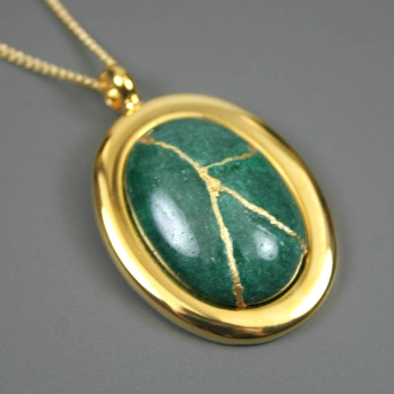 Kintsugi (kintsukuroi) green dolomite stone cabochon with gold repair in a gold plated setting on gold chain - OOAK