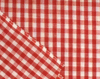 Gingham Fabric / Red Gingham Fabric / Quilting Fabric / Red and White Gingham Fabric / Cotton Fabric / Red and White Check