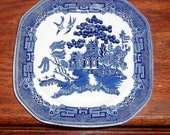 RESERVED:  JOHNSON BROTHERS Blue white Willow Square Dessert Salad Plate China Porcelain  England Discontinued One Excellent Condition