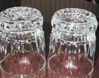 """2 CRIS D ARQUES Barcelona Clear Old Fashioned Rocks Crystal Tumblers Glasses or Water Box Cut Vertical 3 5/8"""" High Pair Excellent Condition"""