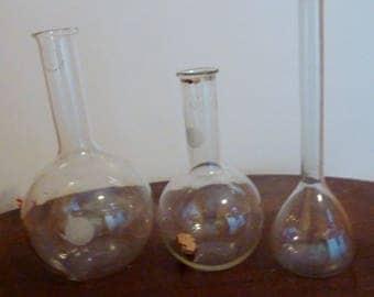 vintage flat bottom chemistry flasks  set of 3
