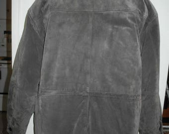 Big Tall 2XL Suede Car Coat STOCKY Mens Jacket Brown Gray Pelle Cuir Leather 50 52 Autumn fall Winter Insulated lining