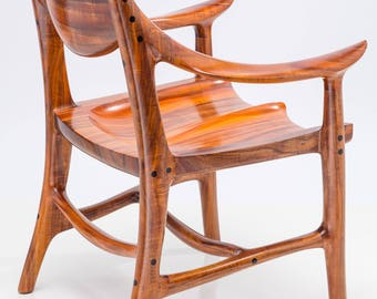 Wooden Armchair Built from Instrument Grade, Curly Acacia Koa, for Dining Tables, Boardroom Tables, or Occasional Chairs in a Matching Set