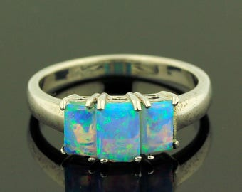 Australian Opal Ring // 925 Sterling Silver // Ring Size 8.5 // Handmade Jewelry