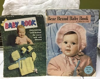 lot of 2 books on making knit and crochet baby clothes 1950s