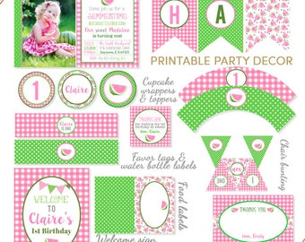 Watermelon Party Package, Watermelon Party Decorations, Pink Watermelon Party, Watermelon Decor, Summer Party Printables