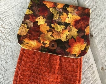 CIJSALE Hanging Kitchen Towel-   Maple Leaves Rust Orange Fall Autumn  Rust Waffle Grid Terry Cloth Towel Button Closure