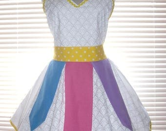 Costume Apron White Retro Apron with Yellow, Purple, Pink, and Blue Circular Skirt Ready To Ship