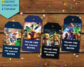 Lego Superhero Thank You Tags, Lego Superhero Party Favors, Lego Superhero Favor Tags, Lego Avenger Birthday Tag, Lego Marvel Party Tag