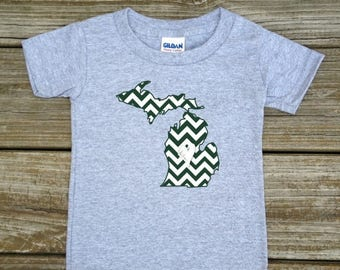 SALE Michigan Love Green White Baby Toddler Children Kids Boy Girl T-shirt or Bodysuit - Your Choice of Any State and Colors