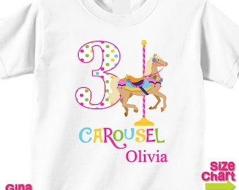 Personalized Carousel Horse Pony Girl Birthday Party Shirt T-shirt Bodysuit Pretend Play Imagination Dress Up