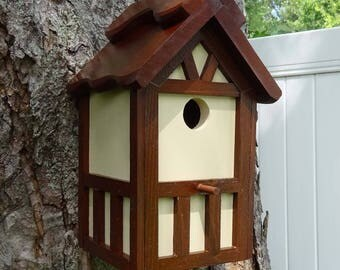 Painted Bird house/Nesting Box, American Tudor style 2A, thatch roof design, EZ cleanout, western red cedar, Made in USA, fully functional