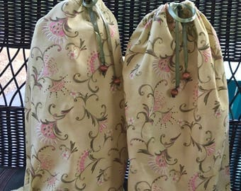 Two Travel Shoe Bags, Lingerie Bags, Floral Drawstring Shoe Bags with Coordinating FREE Gift Bag