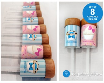 Sweet Cupcake or Stud Muffin? Confetti Push-Pops - Set of 8 - for Gender Reveal Parties