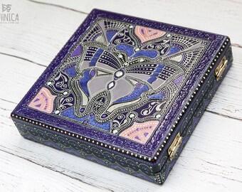 Purple jewelry box, back to school, bohemian box, jewelry storage, money box, gift for women, trinket craft supplies storage, boho style