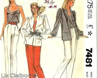 ON SALE McCall's 7481 Liz Claiborne Jacket, Camisole & Pants Pattern, Size 10, UNCUT