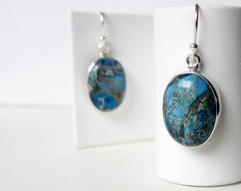 Sterling silver drop earrings with imperial jasper ovals.